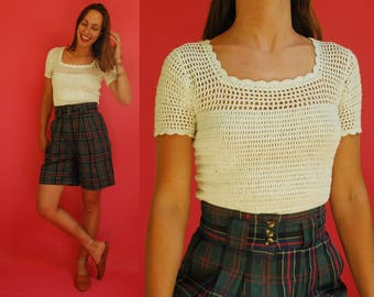 1980s White Cotton Knit Top With Sheer Neckline