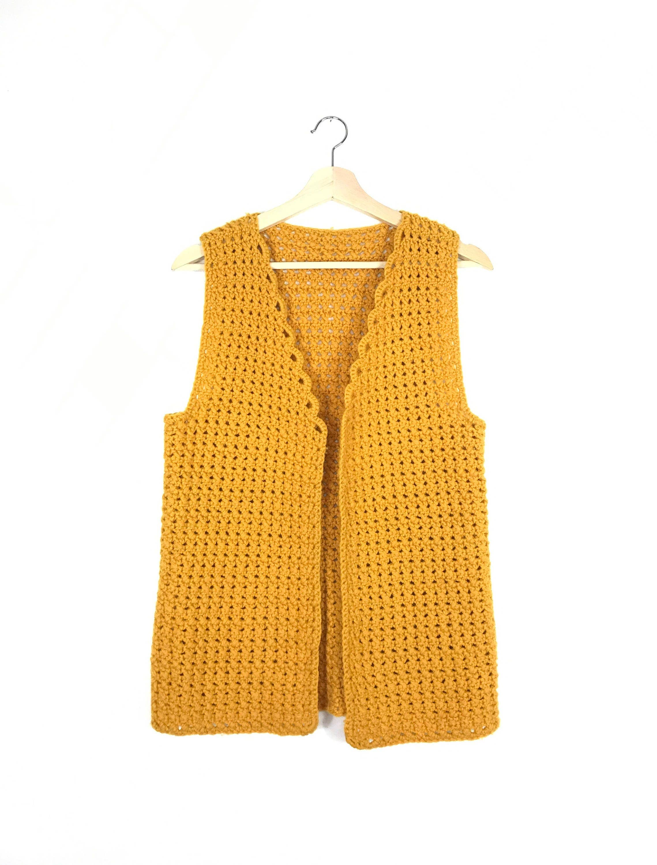 vintage crochet vest 1970s mustard yellow top 70s granny