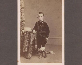 CDV of a Little Boy in a Black Velvet Suit