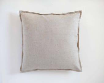 Oatmeal linen pillow cover, throw pillow, euro sham, linen decorative pillow cover custom size