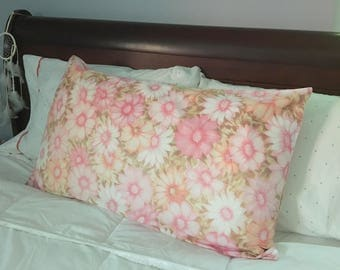 Vintage PINK And CORAL Floral King Size Pillowcase / Cannon - No Iron