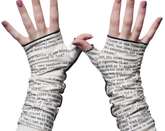 Sherlock Holmes Writing Gloves - Fingerless Gloves, Arm Warmers, Arthur Conan Doyle, Literary, Book Lover, Books, Reading