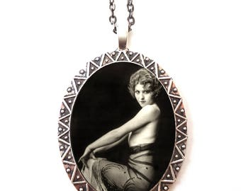 Flapper Ziegfeld Follies Necklace Pendant Silver Tone - Art Deco 1920s Showgirl Dancer Roaring 20s Seated