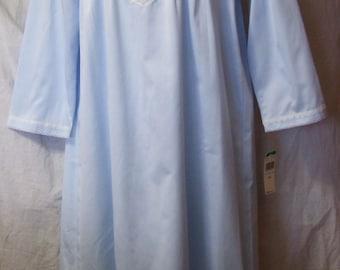 Winter, Satin Nightgown, Brushed Lined, Miss Elaine, Powder Blue, Size L Large, Warm Cozy Sleepwear