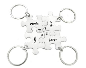 Bridesmaid Keychain Gift Puzzle Piece Set - Engraved Jewelry - Wedding - Bridal Party - Wedding Puzzle - Custom Bridesmaid Gifts - 1213