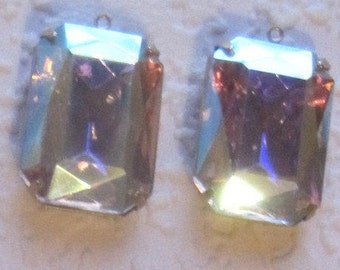 Large Glass Rectangle Octagon Crystal AB  Rhinestone 28MM Connector 1R Brass Prong Setting