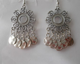 Silver Tone Chandelier Earrings with Silver Tone Disc Dangles