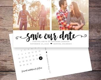 Save the Date Postcard, Save-the-Date Card, Calendar, Invite, Photos, DIY Printable, Digital File – Tabitha