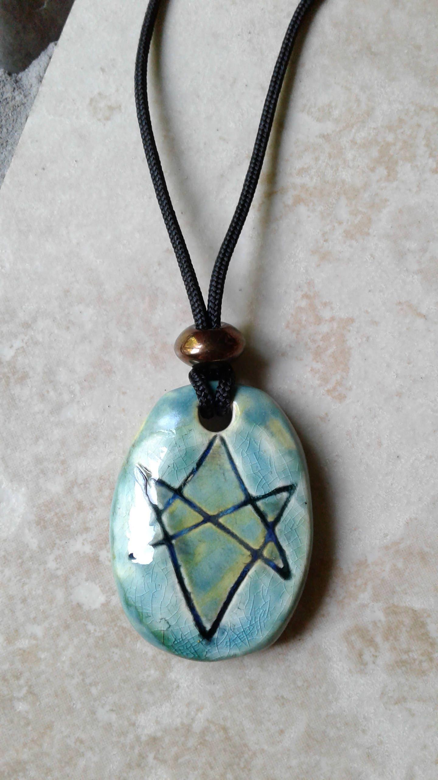 Mens aquarian star necklace sea turquoise ceramic unicursal mens aquarian star necklace sea turquoise ceramic unicursal hexagram pendant seal of orichalcos men of letters mozeypictures Images