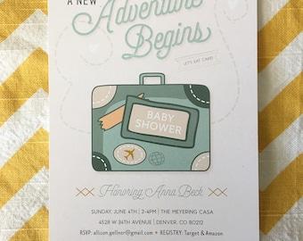 A New Adventure Begins world traveler shower invitation, globe suitcase invitation, world traveler adventure invitation, destination invite