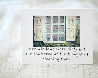 """Cleaning Humor Card """"Shuttered"""" Adventures Claudia Porcelain Doll Dollhouse Windows Funny Stationary (1)"""
