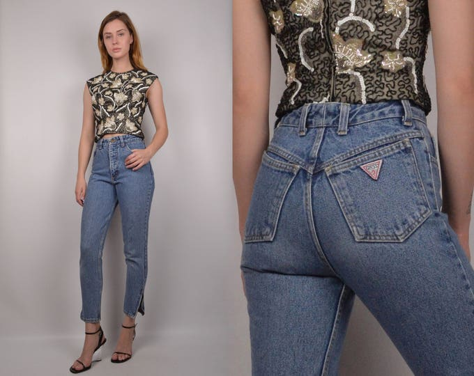 Guess Crop Skinny Jeans / High Waist Vintage Denim