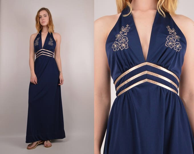 70's Navy Halter Dress XS