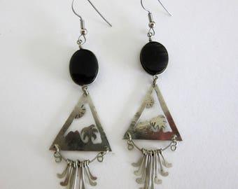 Silver Onyx Dangle Earrings - Drop Earrings Triangle - Cutout of Palm Tree - Sun - Mountain - 9 Dangles