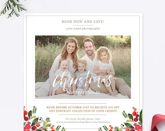 Christmas Mini Session Template, Christmas Photography Template, Christmas Photography Flyer, Christmas Marketing Template Board AD244