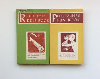 2 Peter Pauper Press Books, 1950-60s, The Little Riddle Book, Peter Pauper's Pun Book