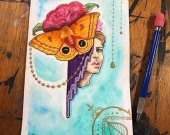 """ORIGINAL  - """"Io Moth"""" - mixed media, Io moth, roses"""