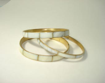 Brass Mother of Pearl Bracelets - THREE - White Shell Bracelet - Vintage Retro Costume Jewelry 1970's
