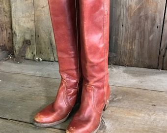 Frye Leather Riding Boots, Black Label, Made in USA, Rust Brown Knee High Campus, Size 7 US