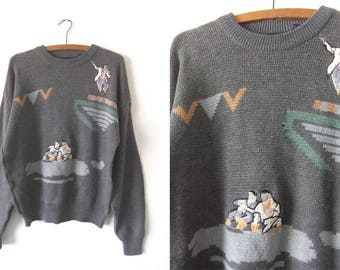 Harmonica Players Embroidered Abstract Sweater -80s Kitsch Musicians Vintage Knit Jumper - Baggy Men's Medium