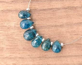 Neon Blue Apatite Faceted Pear Beads, 7-9mm, Neon Blue Gemstones, Cobalt Blue Teardrop Beads, Blue Destash Faceted Pear Apatite Gemstones