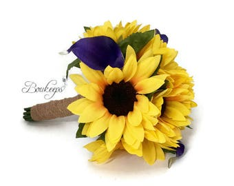 CHOOSE RIBBON COLOR - Sunflower and Calla Lily Bouquet, Sunflower Bridal Bouquet, Flower Girl Bouquet, Toss Bouquet, Purple Calla Lily
