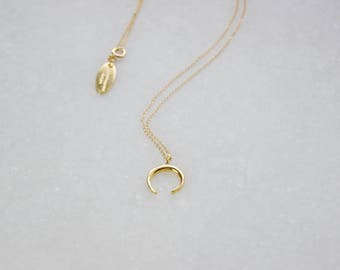 Ox Horn Crescent Necklace, Gold Moon Necklace, Gold Filled Chain