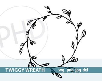 Twiggy Wreath File-svg, png, jpg, dxf
