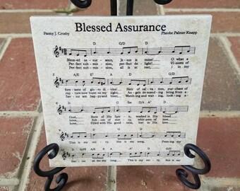 6x6 Thin Tile plaque Blessed Assurance Sheet Music Note Song Lyrics Custom Teacher Tile Art Decor Piano Player gift Christian Hymns Stand
