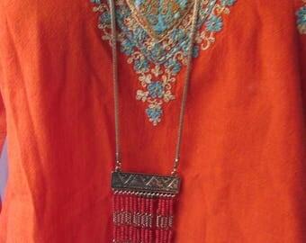 Necklace Boho Beaded long orange gold