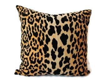 Velvet Cheetah Pillow Cover, Animal Print Pillow Cover, Black and Gold Leopard Velvet Pillow Cover