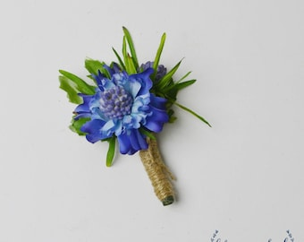 Blue Boutonniere, Silk Boutonniere, Boutonniere, Groom, Groomsmen, Wedding Flowers, Wedding Boutonniere, Button Hole, Wedding Button Hole