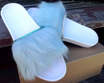Custom Crystal UGG Australia Royale Blue Aqua White Toscana Fur Slide Slippers w/ Swarovski Rhinestone Jewel Wedding Flip Flop Slip On Shoe