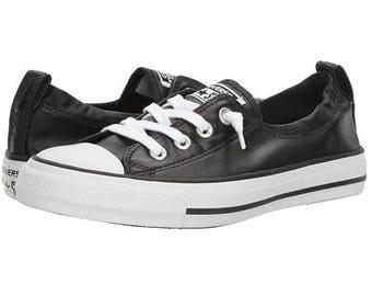 Custom Converse Black Metallic Shoreline Slip on Ladies Kicks w/ Swarovski Crystal Rhinestone Jewel Bling Chuck Taylor All Star Sneaker Shoe