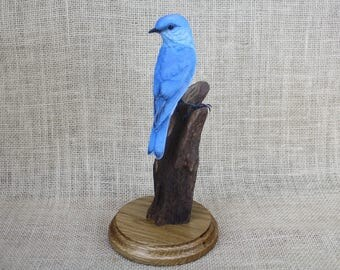 Mountain Bluebird Bird Wood Carving Hand Carved Sculpture Bird Woodcarving by Mike Berlin