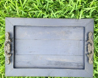 Decorative / Serving Tray - Navy distressed