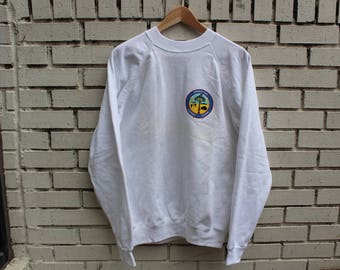 "Vintage OPERATION DESERT STORM Crewneck Sweatshirt Size L Large Hanes tag ""Americans United For World Peace"" gulf war middle east"