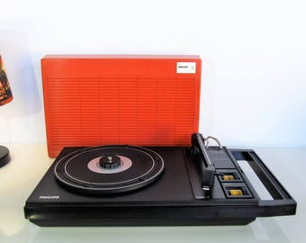 Vintage Record Player, Retro Rare PHILIPS Type 100 Vinyl lp Working Modern Design portable Record Player 33,45 rpm Philips 22AF100  70s