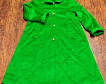 Vintage Retro Made USA Princess Pinup Rockabilly Mod Dress Long Over Car Coat Mid Century Grass Green Wool L XL