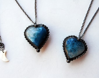 Blue Agate Heart Crystal Necklace // Minimal Heart Shaped Blue Agate Layering Necklace