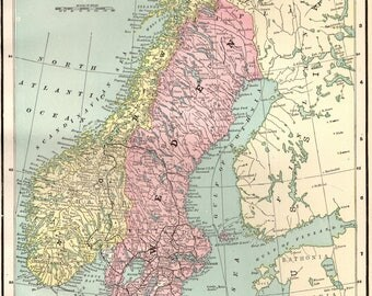 1898 Antique SWEDEN Map NORWAY Map Vintage 1800s Collectible Map Gallery Wall Art Map Collector Gift for Traveler 5646