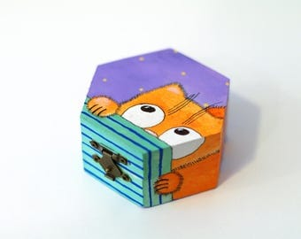 Cat trinket box Animal jewellery box - wood box - keepsake box - cute gift children - original gift - decor cat jewelry box - wooden box