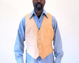 70s Tan Linen Vest, Vintage Vest, Five Button Vest, Mens Hipster Vest, Tan Vest, L
