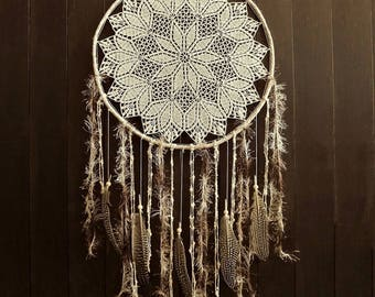Boho dream catcher, neutral, dreamcatcher, bohemian, wall hanging, large, handmade, bedroom decor, wall decor, cream, beige, pastel, crochet