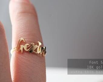 Custom Name Ring- Ultra thin band - Personalized Name Ring - Baby Name-Your name ring- New Mom Ring - Bridesmaid Jewelry-Birthday gift.#RF50
