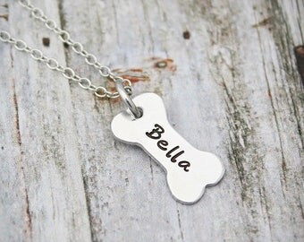 Pet Loss - Dog Remembrance - Pet Sympathy Gift - Personalized Dog Bone Necklace - Dog Sympathy Gift - Memorial Necklace - Custom Name