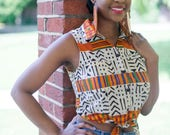 NEW! RUDO Sleeveless Tie Front Summer Top in Striped Cream/Orange Kente, African Print Top, Shirt, African Clothing by Afrocentric805
