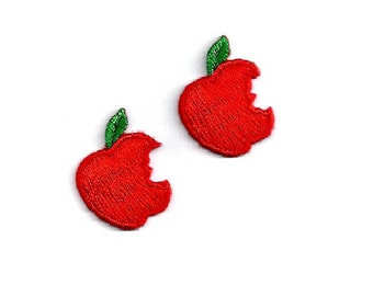 Apple - Fruit - Diet - Pie - Apron - Bakery - Orchard - School - Teacher - Iron On Applqie Patch - Set Of 2