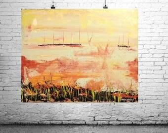 "ORiGiNAL 30 x 24 Landscape ABSTRACT   -""Across The Bay""  original Acrylic Paint on canvas   -   30"" X 24""   (# 17-2070)"