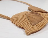 Wooden necklace, modern macrame jewelry, made in Italy, gift for her, mother's gifts, macramè jewel, choker, neckless macrame, beige cotton